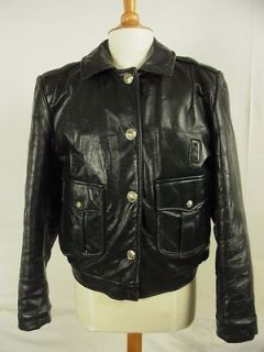 Vintage Womens Chicago Police Motorcycle Leather Jacket Black M L