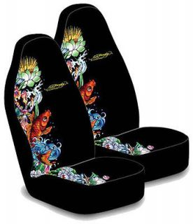 ED HARDY KOI FISH BUCKET SEAT COVERS (PAIR) BLACK NEW