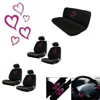 17pc Van Seat Cover Sexy Girl Pink Love Heart +Steering Wheel Belt Pad