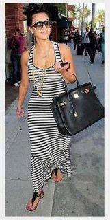 black & white STRIPED TANK top style MAXI DRESS soft cotton spandex