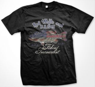Red White and Bass Fishing Tournament Mens T Shirt