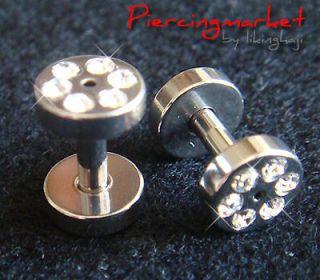 Screw Flesh Tunnels Tunnel Ear Plugs Earlets Earrings 12 Gauge Gem S50