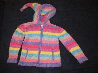 Girls pink purple striped Hand Made Ecuador sweater jacket coat sz 3 4