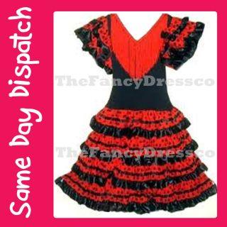 New Girls Spanish Flamenco Dress Dance Costume, Black and Red   Fancy