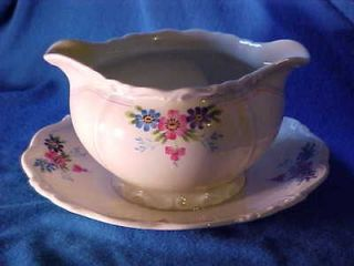 EDELSTEIN Bavaria 2 Spout GRAVY BOAT with UNDER PLATE Handgemalt