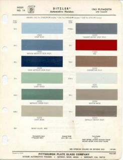 1963 Plymouth PPG Paint Color Charts 63 Fury Belvedere