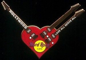 Cafe HOLLYWOOD 2002 Red Ibanez HEART Triple Neck Guitar PIN Steve Vai