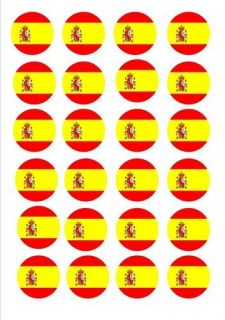 24 X SPAIN SPANISH FLAGS EDIBLE CUP CAKE TOPPERS WAFER RICE PAPER