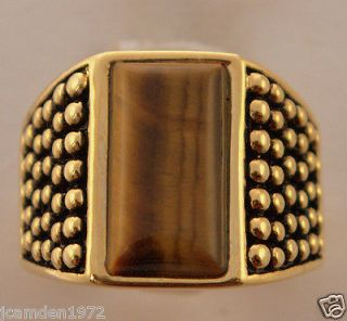 TIGER EYE DOT MATRIX mens ring 18K gold overlay size 14