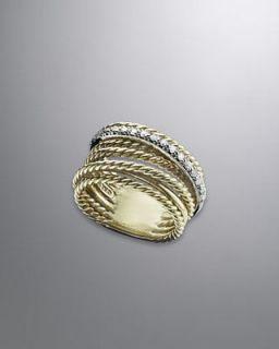 David Yurman 18K YG Large Diamond Crossover Ring Cable
