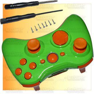 Xbox 360 Wireless Controller Shell Case Button Glossy Green Orange