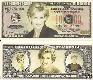 IN MEMORY OF PRINCESS DIANA~PRINCESS OF WALES~ DOLLAR BILL NOVELTY