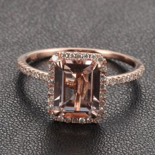 CLAW PRONGS Solid 14K Rose Gold Emerald Morganite .26ct Diamond