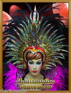 CHARISMATICO GOLD Drag Queen Tranvestite CABARET FEATHER HEADDRESS