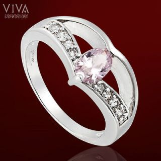 Oval Pink Sapphire Color 18K White Gold Plated Cocktail Ring 7/O