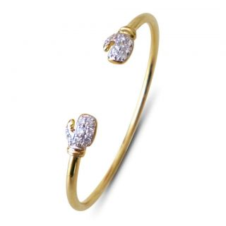 9ct Gold Cubic Zirconia Baby Boxing Glove Bangle 4.9g