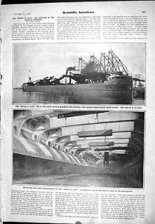 Antique Print of 1905 Elbert Gary Mammoth Carrier Ship Clam Shell Ore