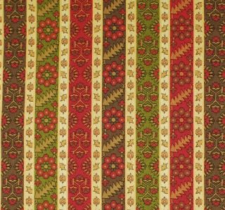 Stripe Upholstery Fabric / Red Gold Brown and Green / Discount Fabric