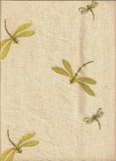 Woven Embroidered Dragonflies Gold Olive Neutral Upholstery Fabric