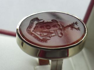 LARGE MENS ANTIQUE 14K GOLD RING w/ AGATE INTAGLIO ARMORIAL / FAMILY