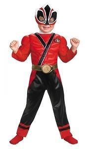 Toddler Boys Deluxe Power Ranger Samurai Red Ranger Muscle Halloween
