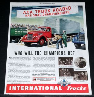 1946 OLD MAGAZINE PRINT AD, INTERNATIONAL TRUCKS, A.T.A. TRUCK RODEO