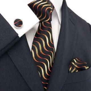 Newly listed Landisun AB18005 Black Orange Wave Mens Silk Tie Set40%