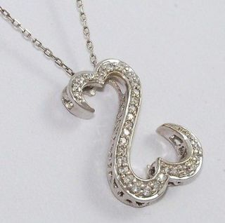 Jane Seymour Open Heart 14K White Gold 0.25ct Diamond Necklace Chain