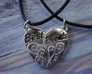 Silver Plated Heart Best Friends Charm Pendant Necklaces Birthday Xmas