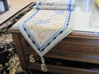BLUE FLORAL GOLD VINES TAPESTRY TABLE RUNNER, MANTLE SCARF, 72