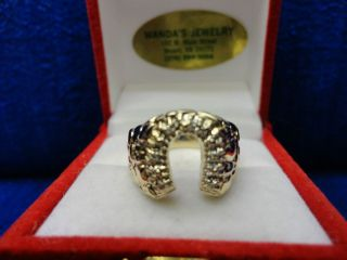 MENS 14K YELLOW GOLD DIAMOND HORSESHOE RING, SIZE 9
