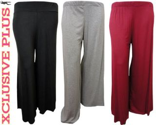 PLUS SIZE WIDE LEG BOTTOM PALAZZO TROUSERS WOMENS FALRED PANTS 12 26