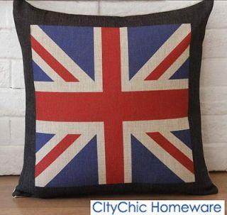 45cm x 45cm TBQCF1 VintageRetro The UnionJack British Flag Linen