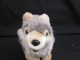 LIFELIKE HUSKY WOLF DOG GRAY TAN WHITE PUPPY PLUSH STUFFED ANIMAL 8