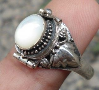 925 Sterling Silver Balinese Box Locket Ring w mother Of Pearl Sz 6,7