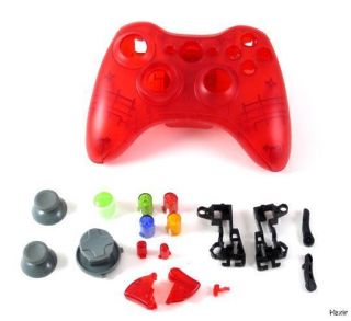 Microsoft XBOX 360 TRANSPARENT RED Controller Mod Shell w/ Buttons New