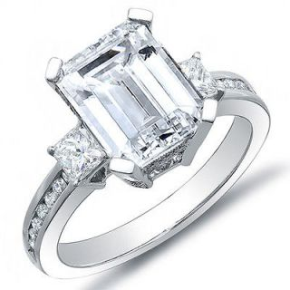 76 Ct. Emerald Cut Diamond Engagement Ring w/ Princess & Round G,VS1