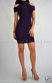 XS 0 2 bebe Dress Bandage Bodycon Purple Cold Shoulder Turtleneck