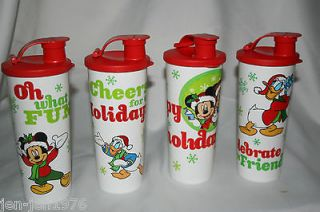 Tupperware Disney Mickey & Friends Holiday Snowflake Tumblers set of 4