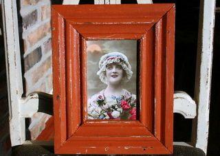 Antique Wood Picture frame   4 x 6    Burnt Orange Colored Paint    A2