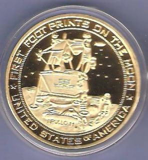 APOLLO 11 SPACE SHUTTLE 24KT GOLD CHALLENGE COIN