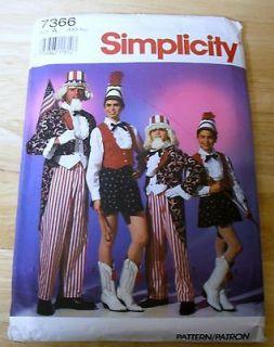 7366 SIMPLICITY Uncle Sam & Majorette COSTUME Men,Teen Boy, Girl