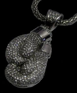 Iced out 3D BOXING GLOVES pendant & hiphop bling chain