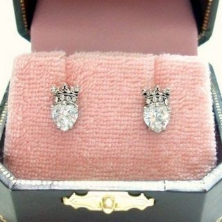 AUTHENTIC Juicy Couture CZ Crown Heart Stud Earrings