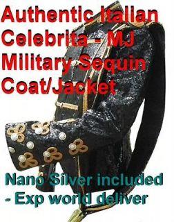 Celebrita Italy Military Style   MJ K Black Sequin Jacket with