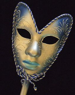 Halloween Mask Full Face Mardi Gras Blue Venetian Masquerade Stick