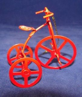 Vtg 2.25 Red Enamel Metal High Wheel Bicycle Tricycle Xmas Ornament