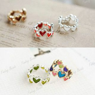 HOT Fashion Lovely Candy 3 Color Alloy Colorful Heart Love Rings