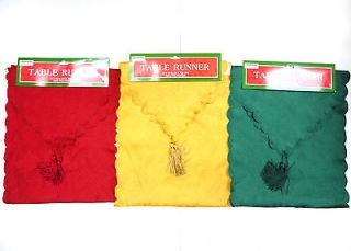 Runner Christmas New Year Holiday Party Red Gold Green Table Runners
