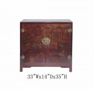 Red Chinese Leather Gold Paint Multiple Shelves Shoe Storage Cabinet